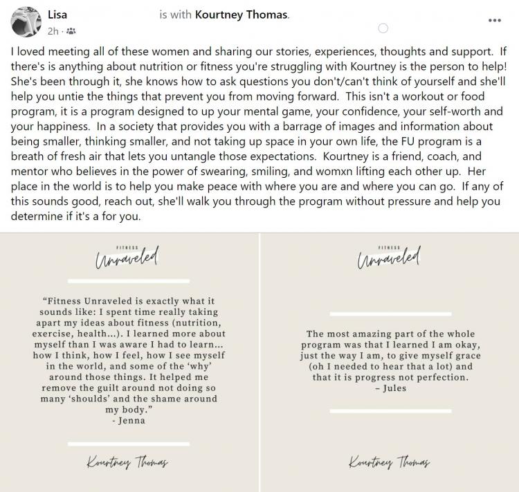 fitness unraveled testimonial | kourtney thomas fitness life coach